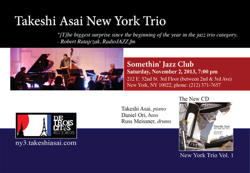 Flyer: Takeshi Asai New York Trio